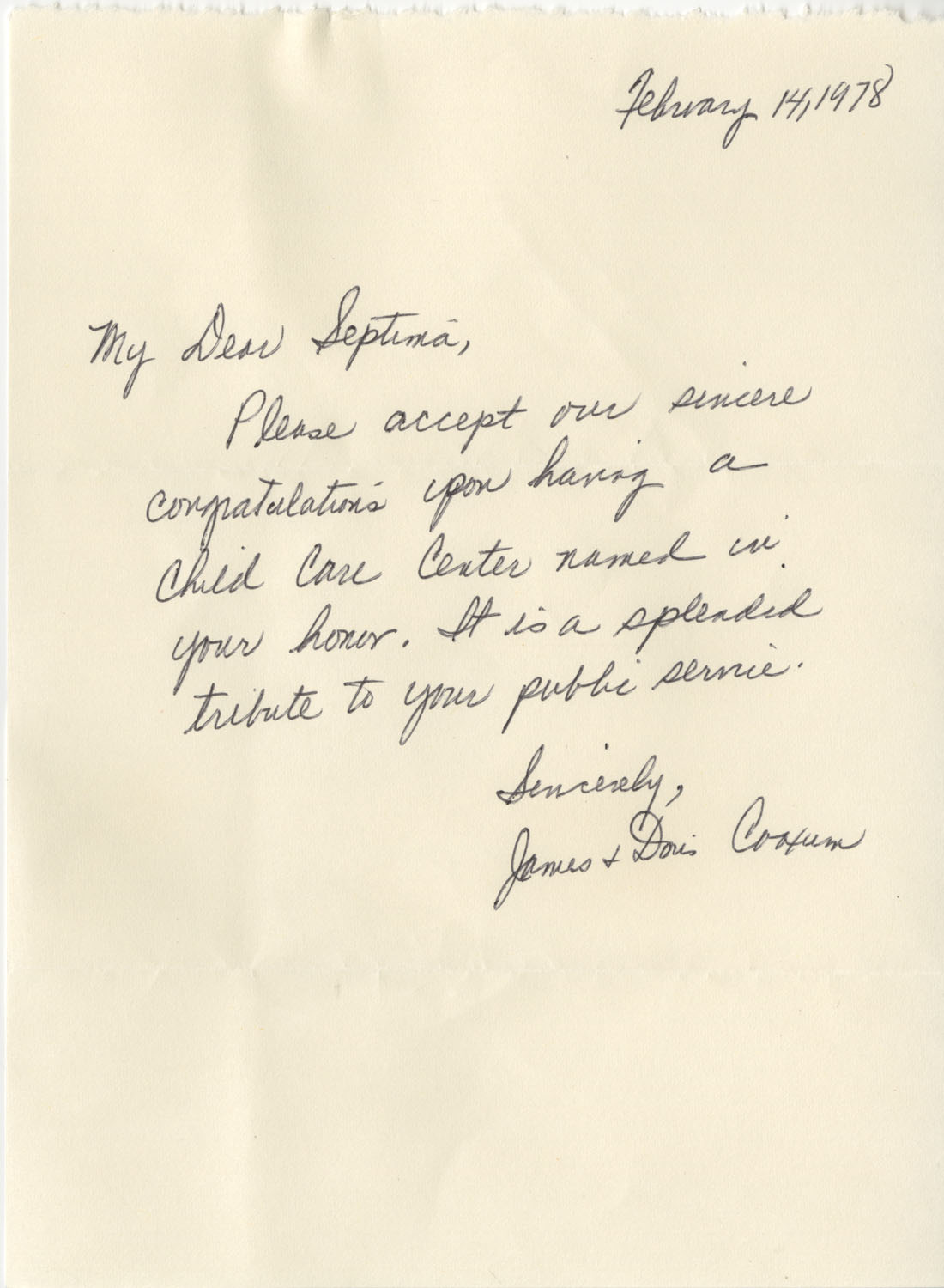 Letter from James and Doris Coaxum