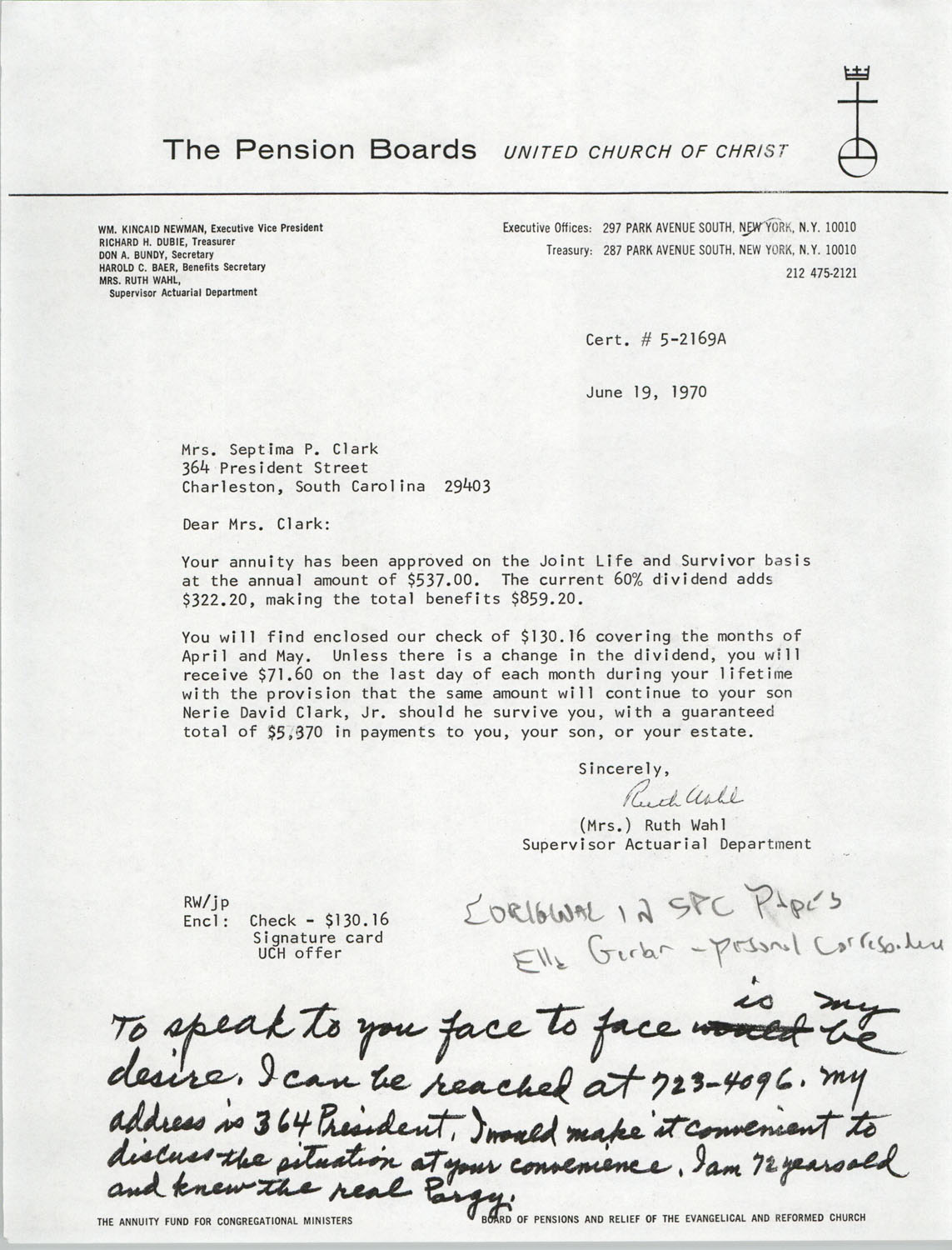 Letter from Ruth Wahl to Septima P. Clark, June 19, 1970