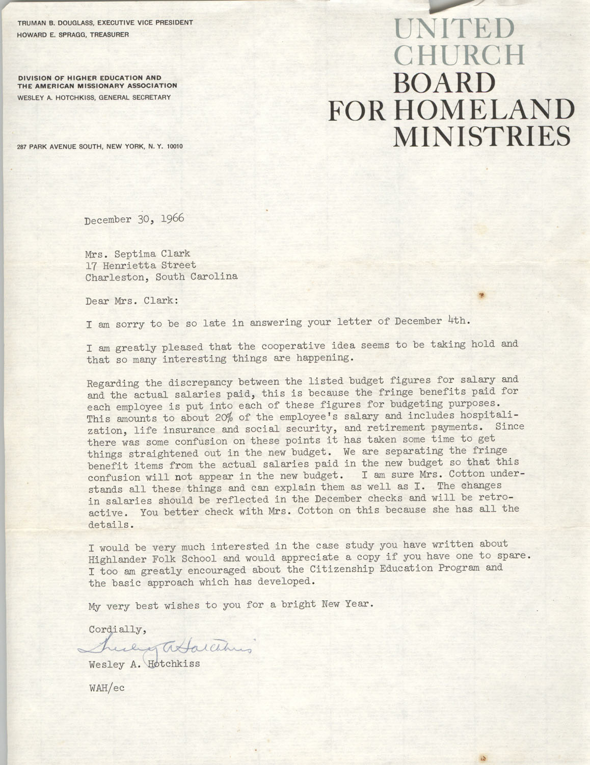 Letter from Wesley A. Hotchkiss to Septima P. Clark, December 30, 1966