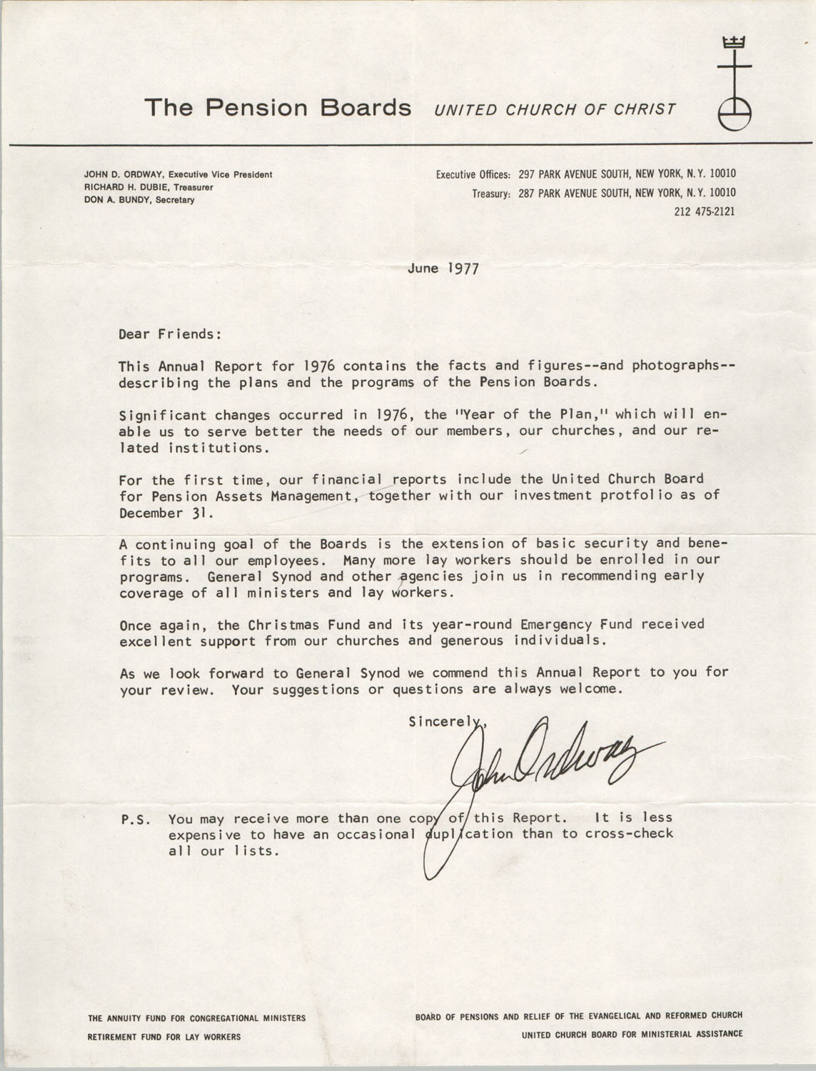 Letter from John Ordway to Septima P. Clark, June 1977