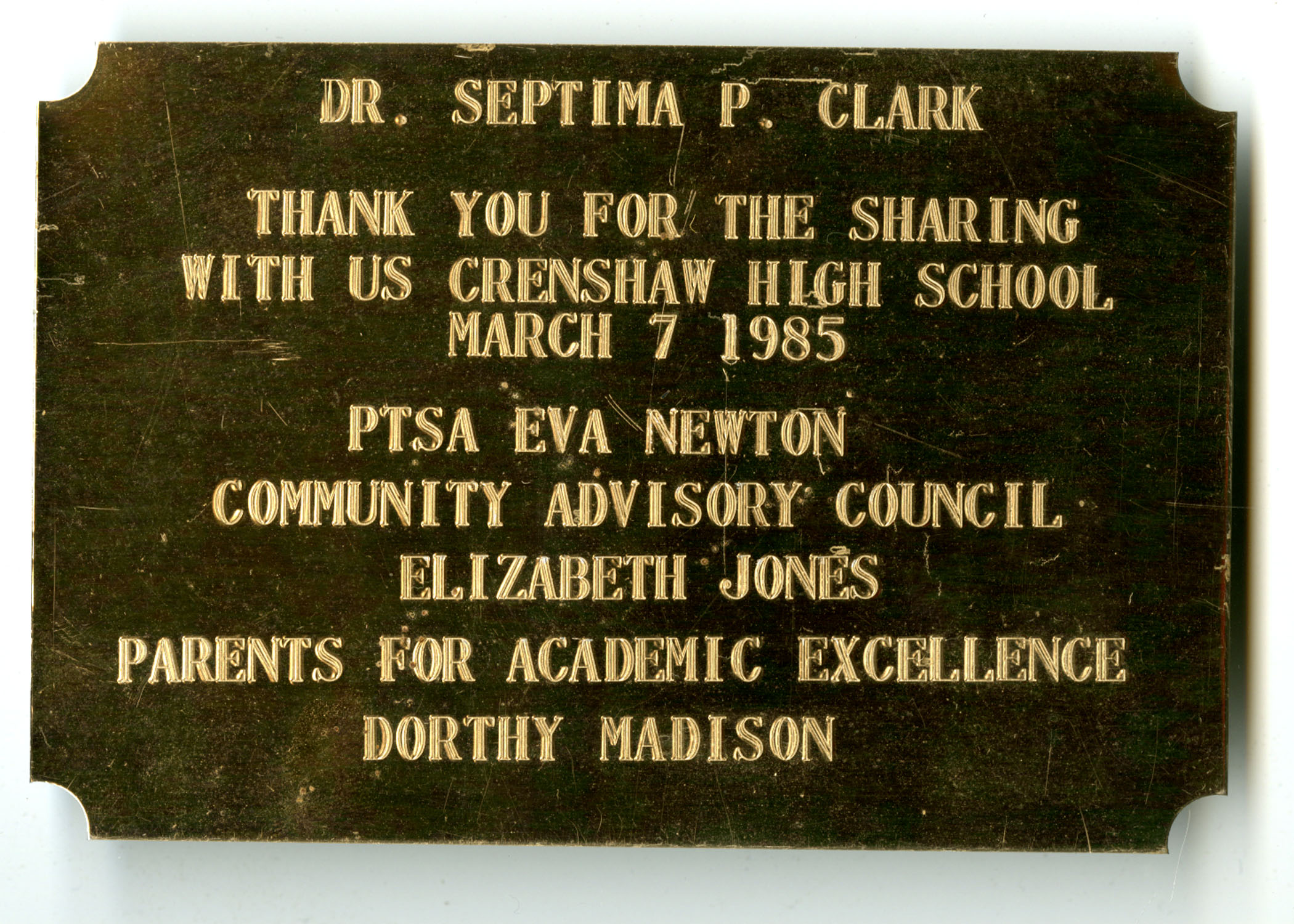 Plaque, March 7, 1985