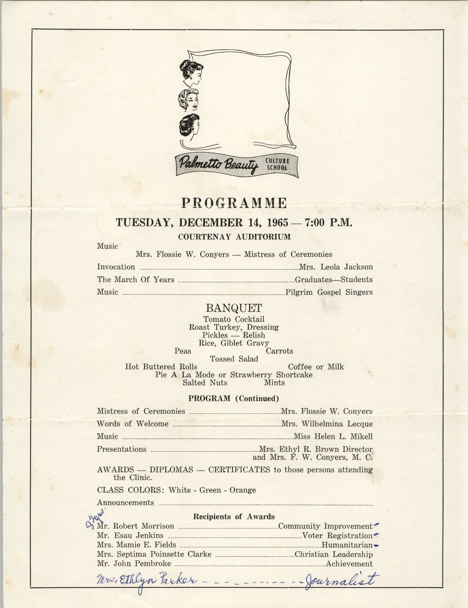 Program for Septima P. Clark Award Ceremony, December 14, 1965
