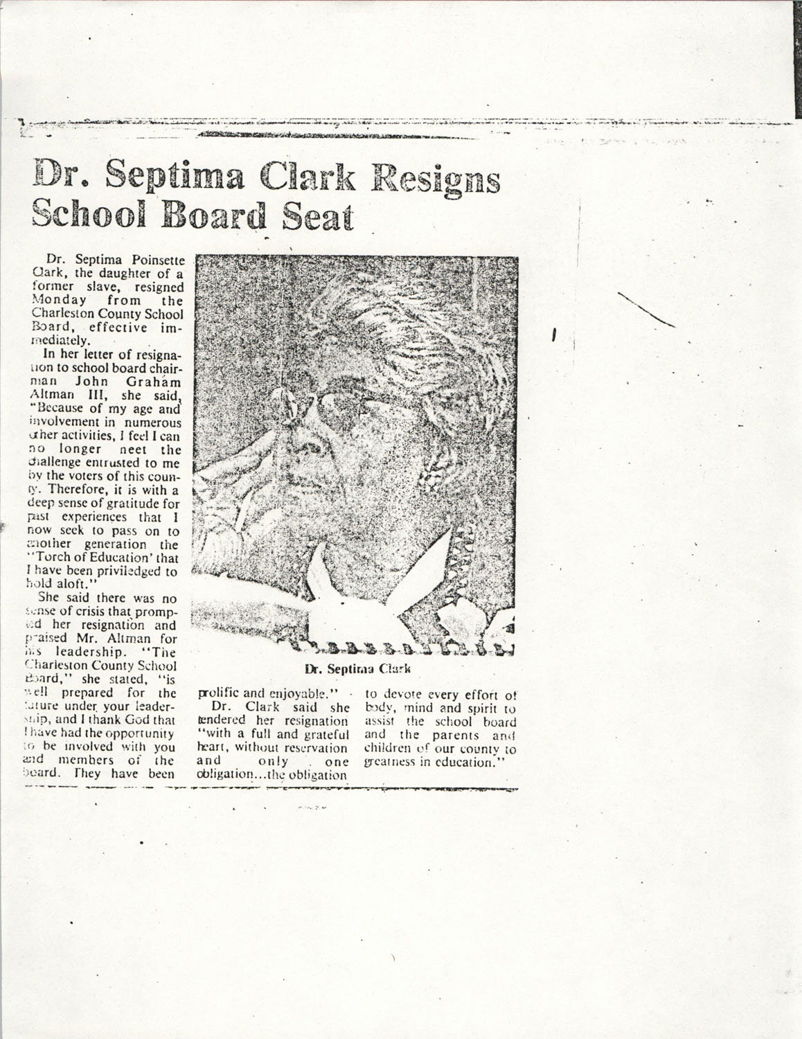 Newspaper Article, School Board Seat Resignation