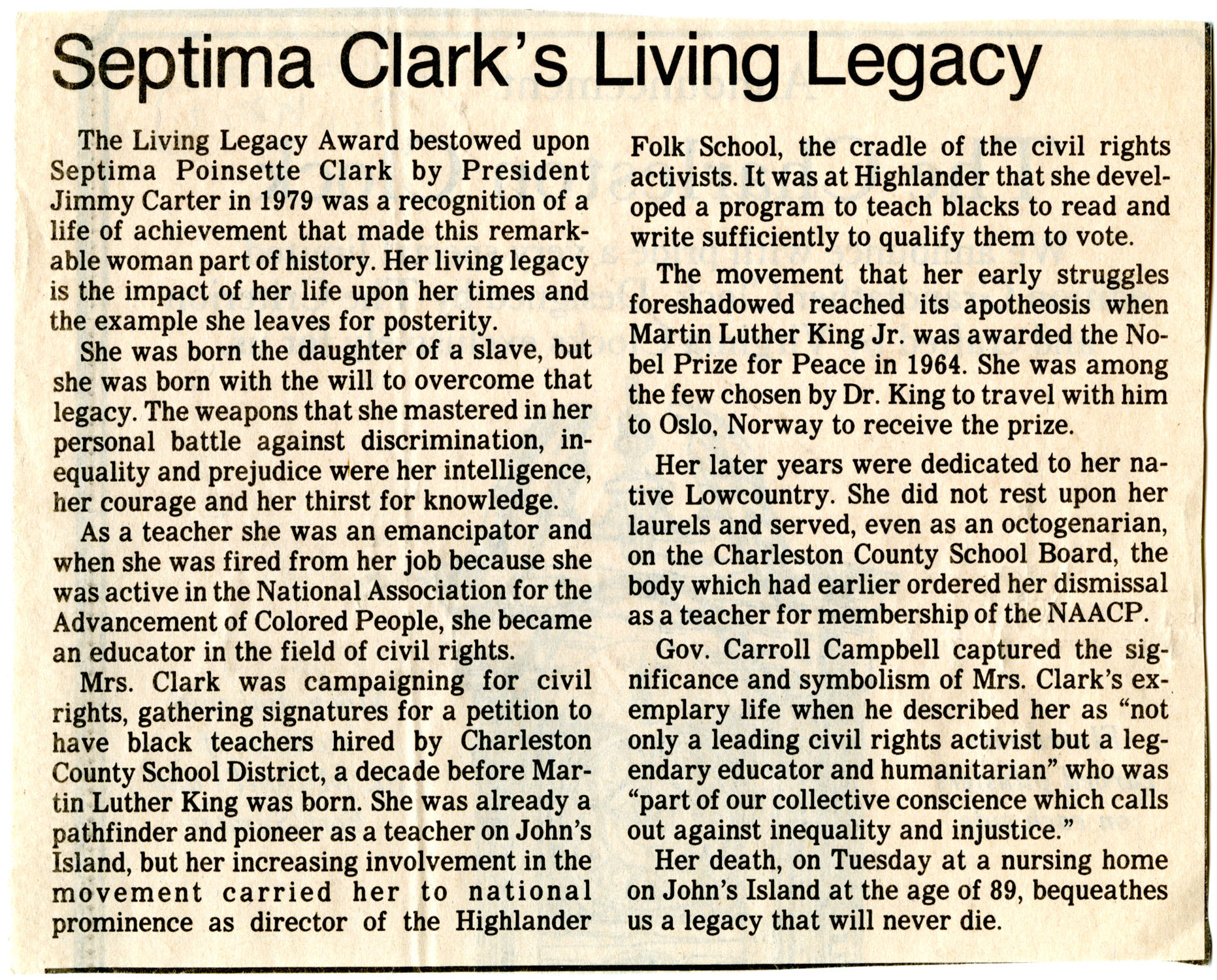 Newspaper Article, Septima Clark's Living Legacy