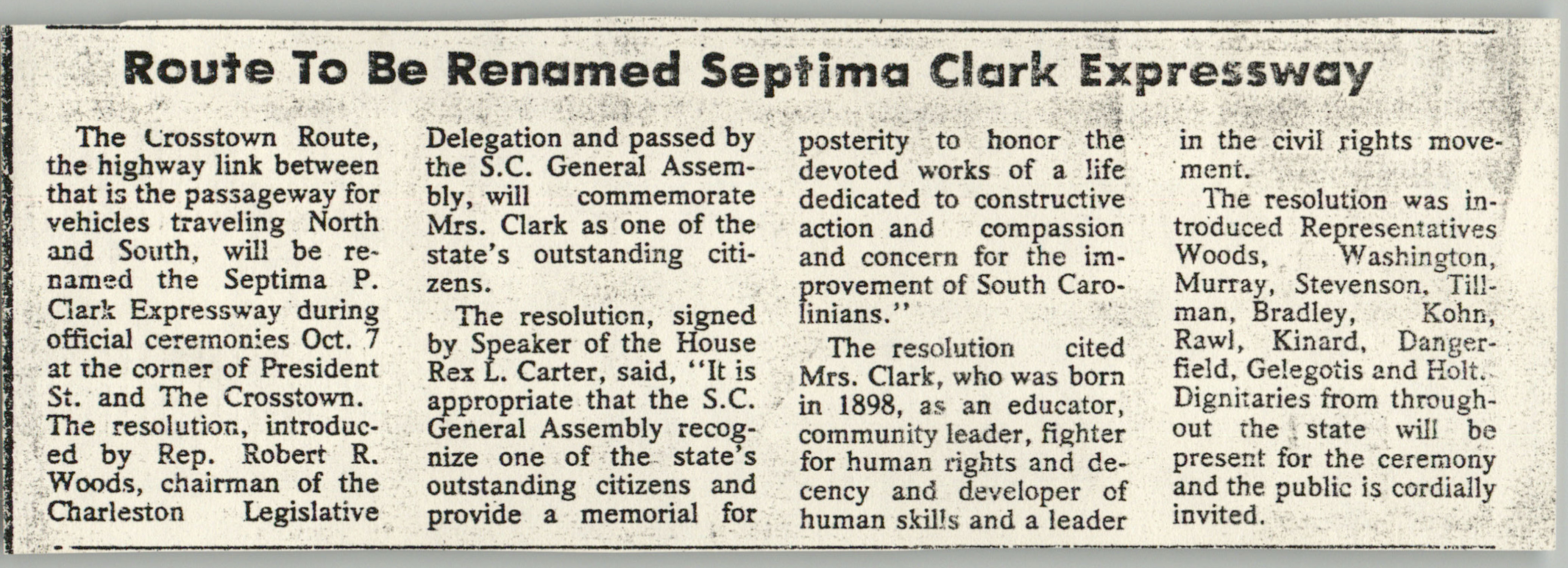 Newspaper Article, Septima Clark Expressway