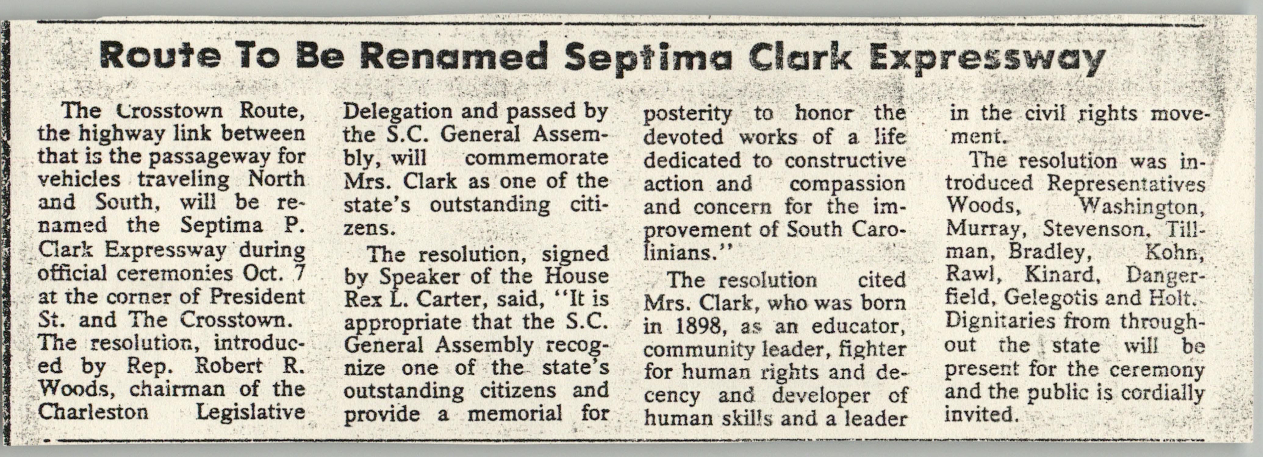 Newspaper Article, Septima Clark Expressway