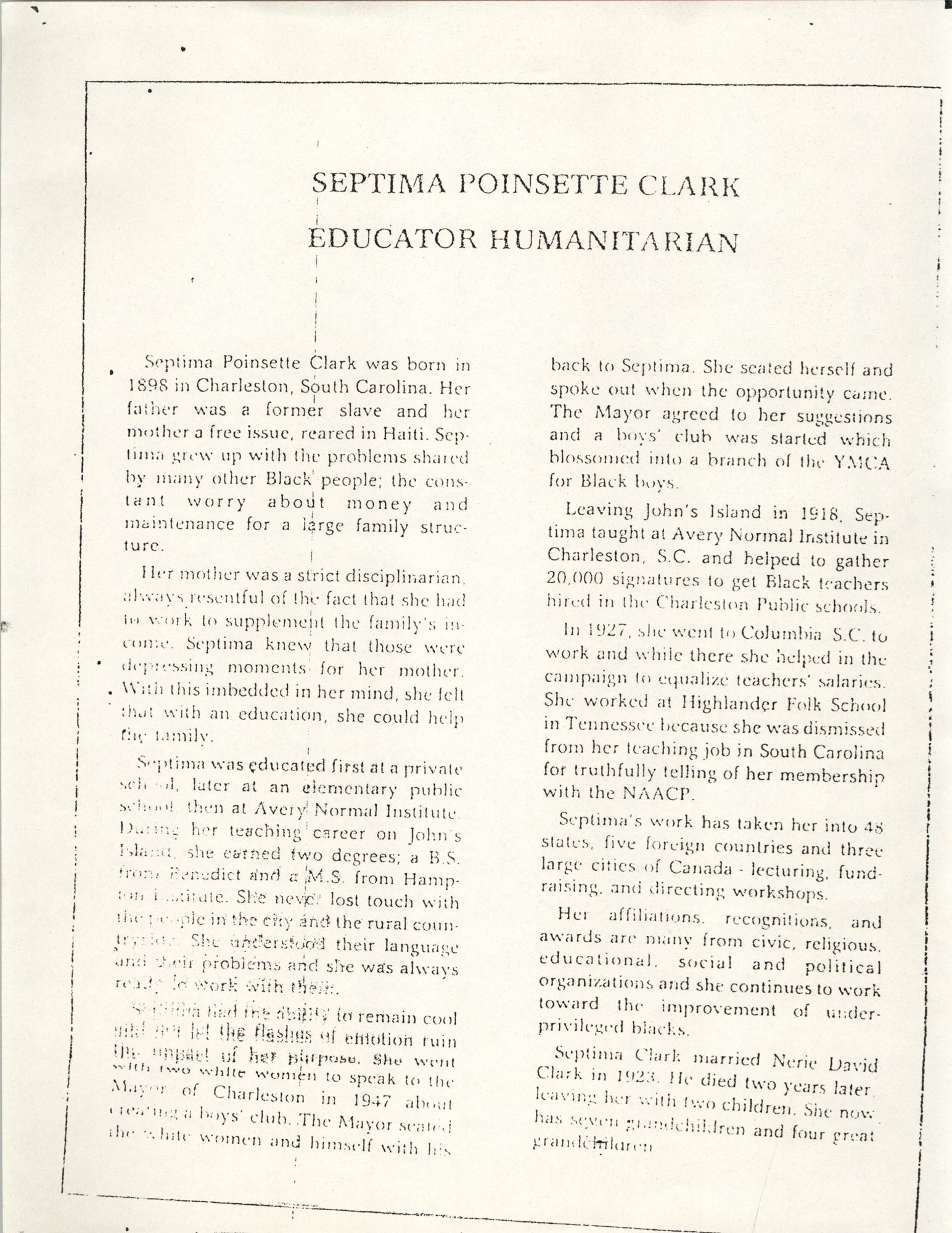 Septima Poinsette Clark: Educator, Humanitarian