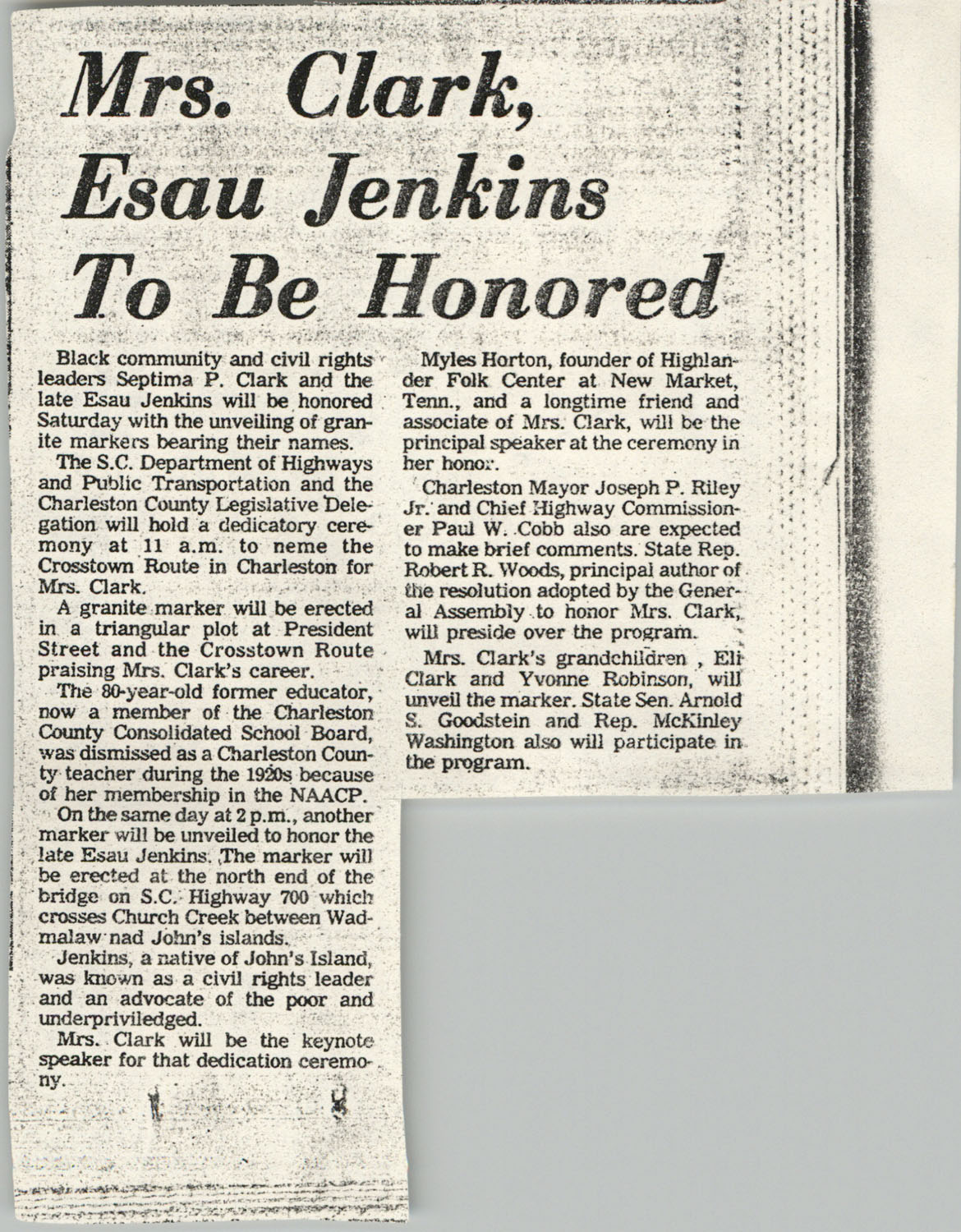 Newspaper Article, Clark and Jenkins Honored