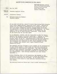Memorandum from Bobby D. Doctor to Advisory Committee Members, Southern Region, United States Commission on Civil Rights, May 26, 1978
