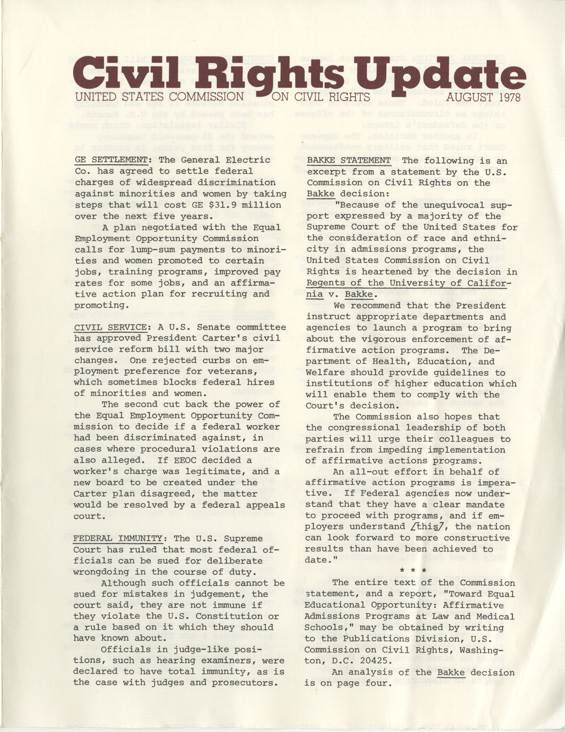 Civil Rights Update, August 1978