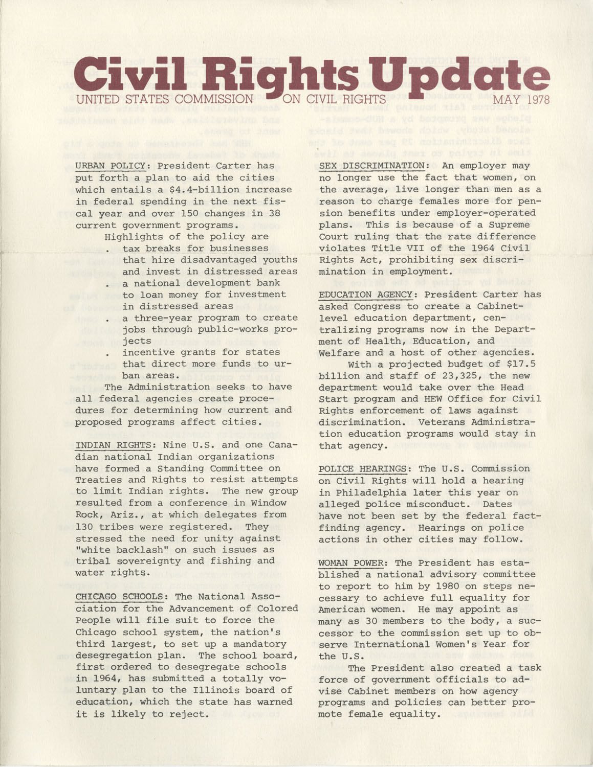 Civil Rights Update, May 1978