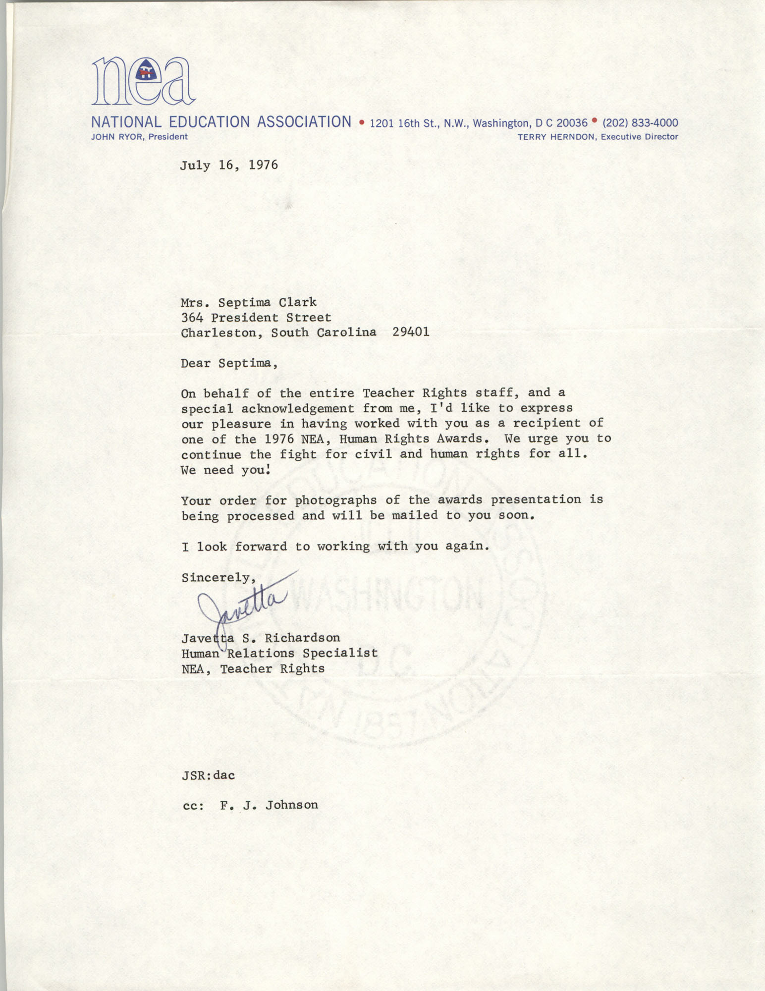 Letter from National Education Association to Septima P. Clark, H. Councill Trenholm Memorial Award, July 16, 1976