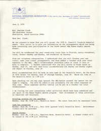 Letter from National Education Association to Septima P. Clark, H. Councill Trenholm Memorial Award, June 2, 1976