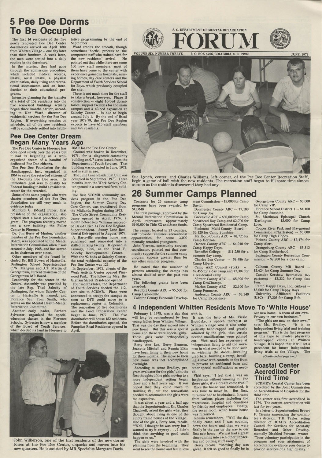 SCDMR Forum, South Carolina Department of Mental Retardation, June 1978