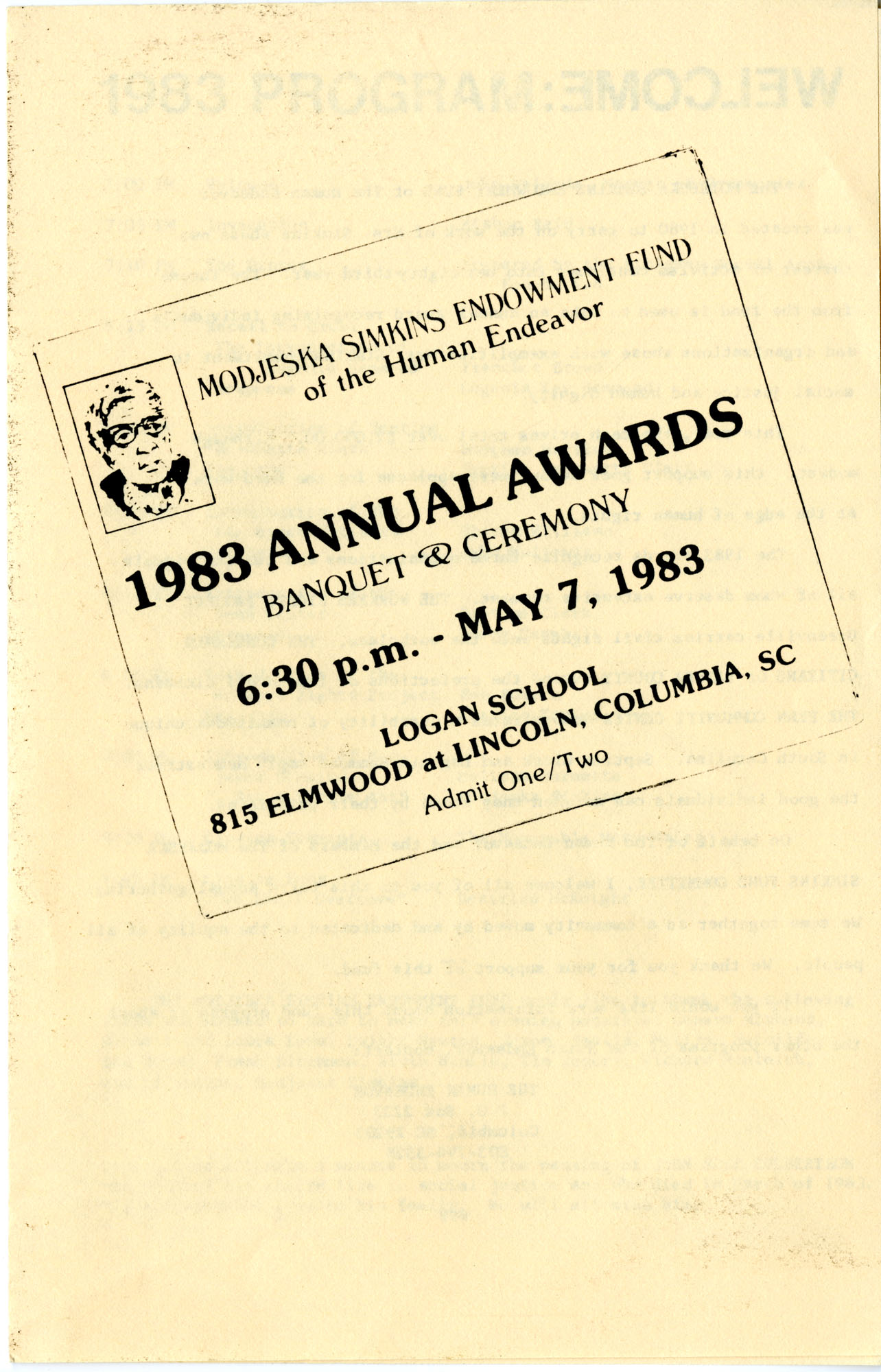 Award Ceremony Program, May 7, 1983