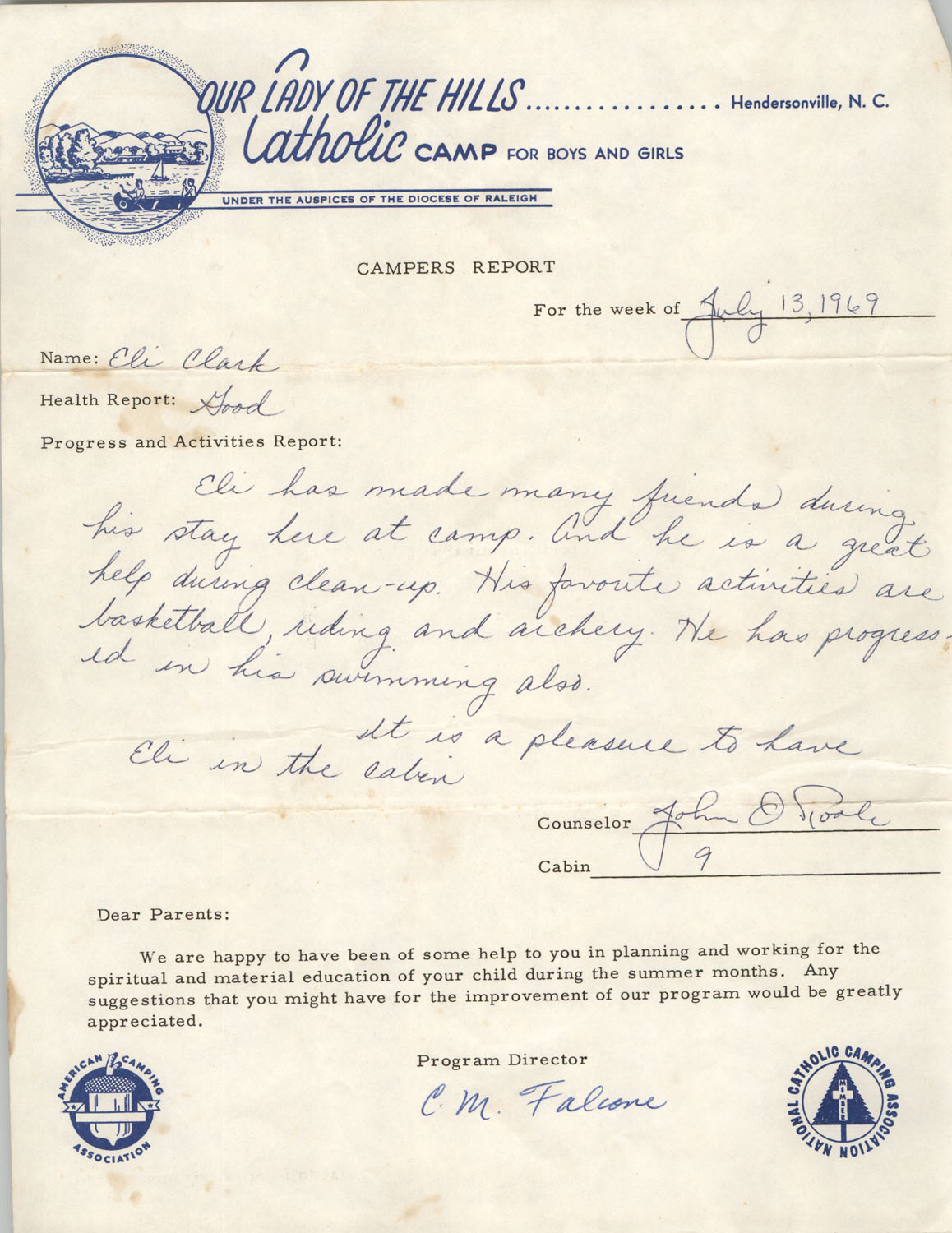 Letter from Our Lady of the Hills Catholic Camp to Septima P. Clark, July 13, 1969