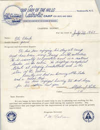 Letter from Our Lady of the Hills Catholic Camp to Septima P. Clark, July 20, 1969