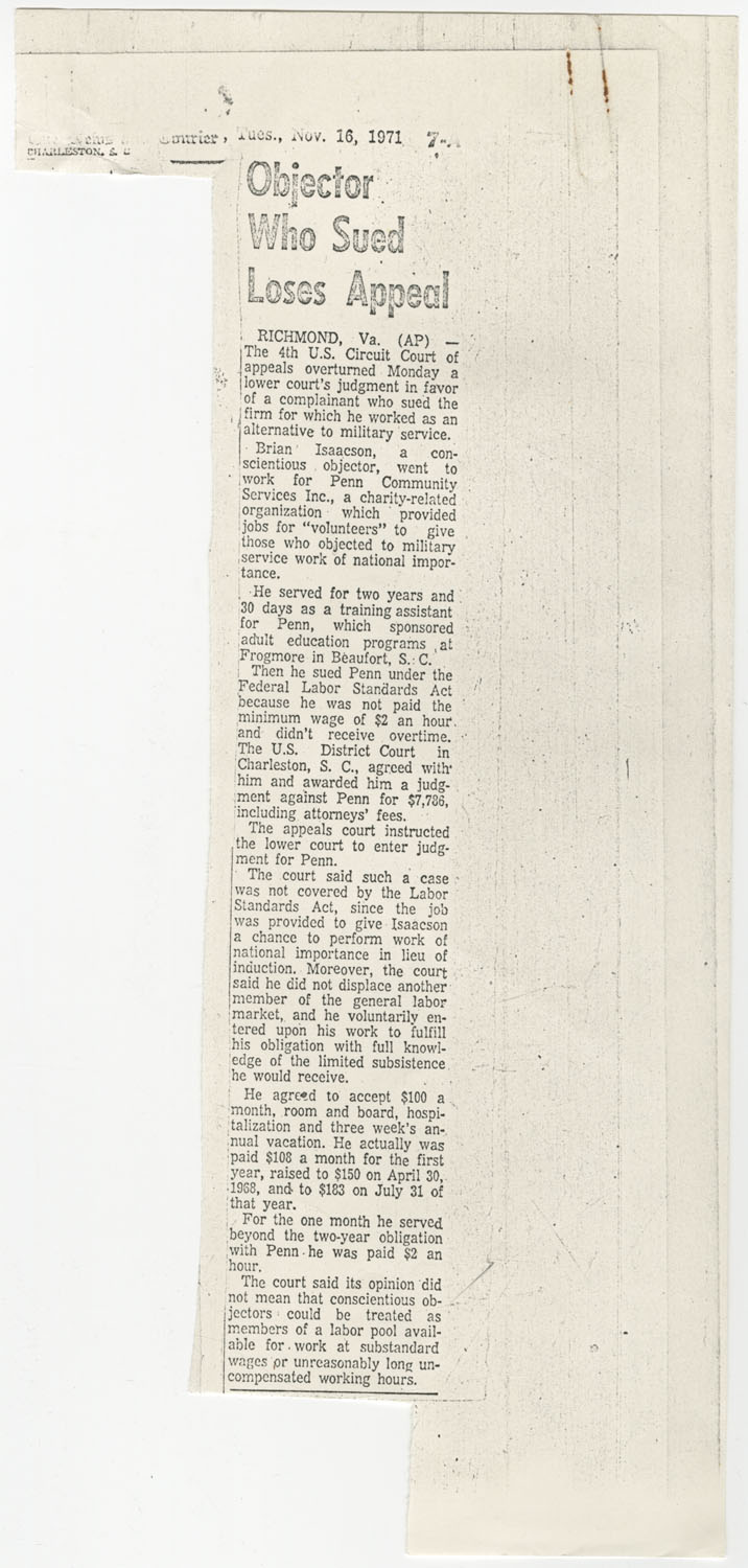 Newspaper Article, November 16, 1971