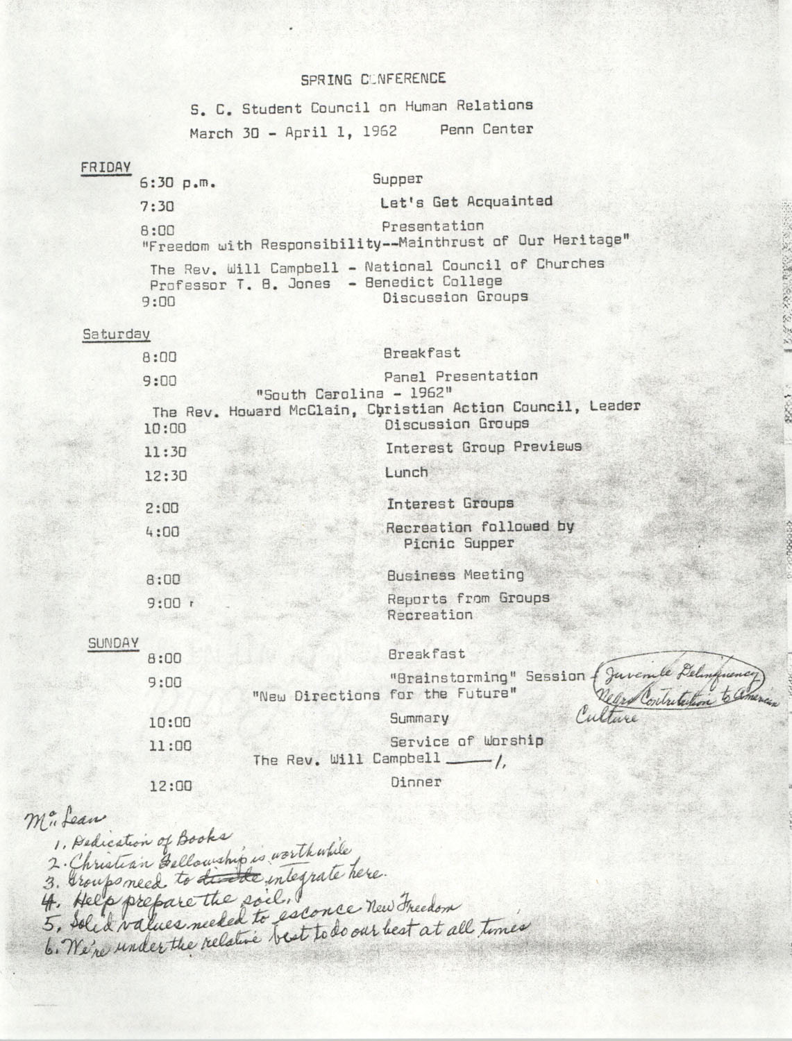 S. C. Student Council On Human Relations, Penn Community Services, Spring Conference, March 30 to April 1, 1962