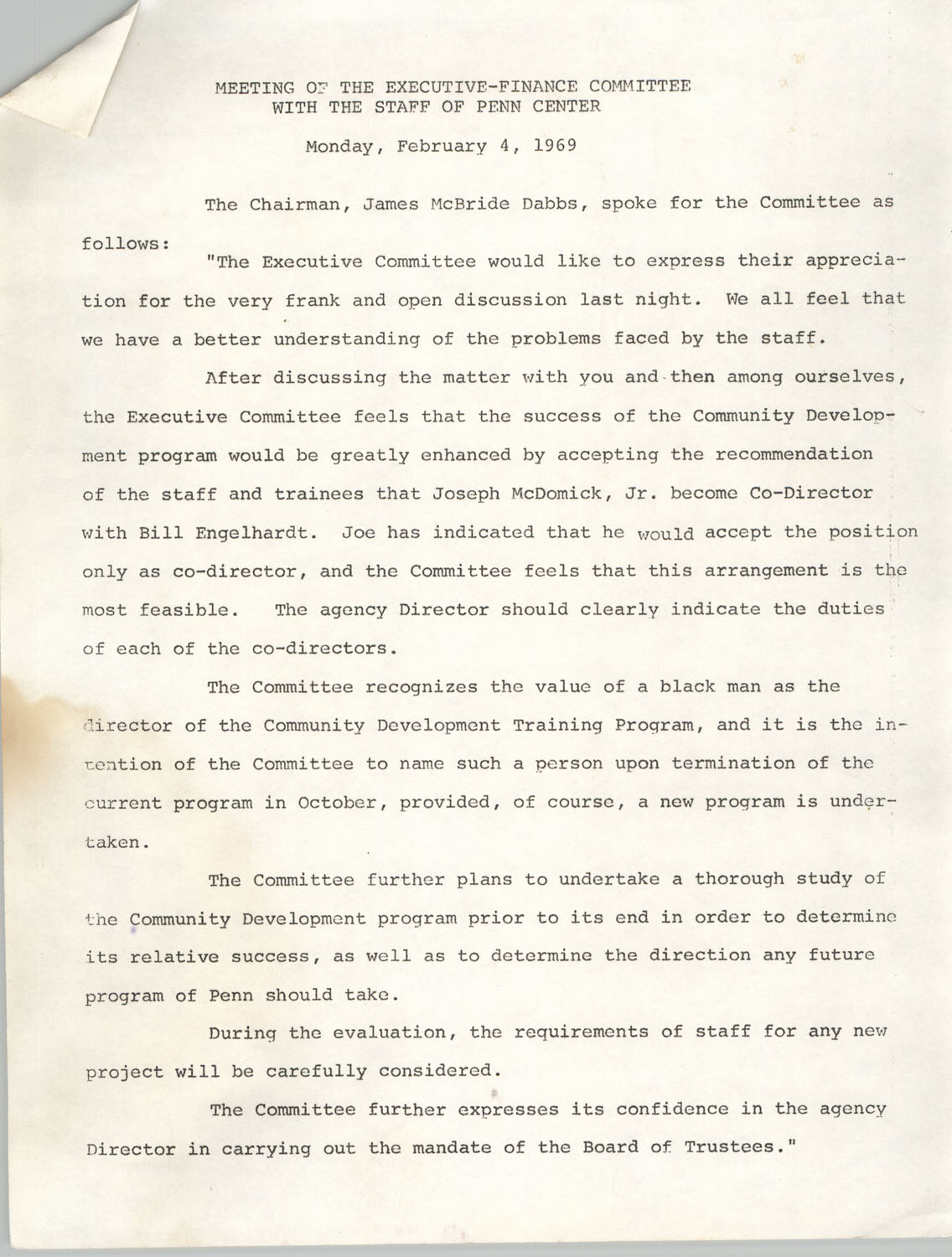 Minutes, Penn Community Services, February 4, 1969