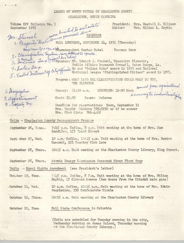 League of Women Voters of Charleston County, Volume XXV, Bulletin No. 1, September 1972