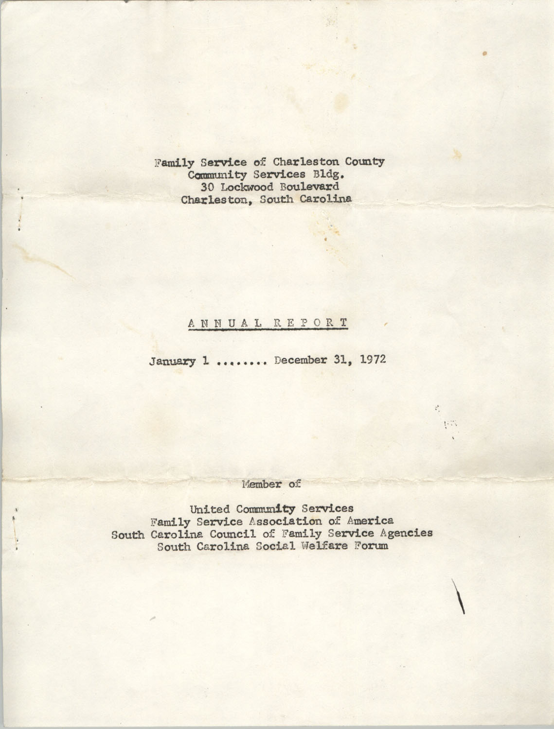 Annual Report, Family Service of Charleston County, January 1 to December 31, 1972