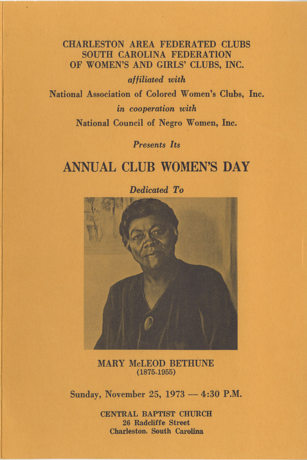 Charleston Area Federated Clubs of South Carolina Federation of Women's and Girl's Clubs, Annual Club Women's Day Program, November 25, 1973