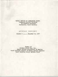 Annual Report, Family Service of Charleston County, January 1 to December 31, 1977