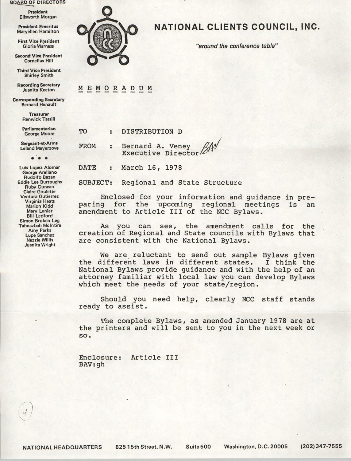Memorandum from Bernard A. Veney to