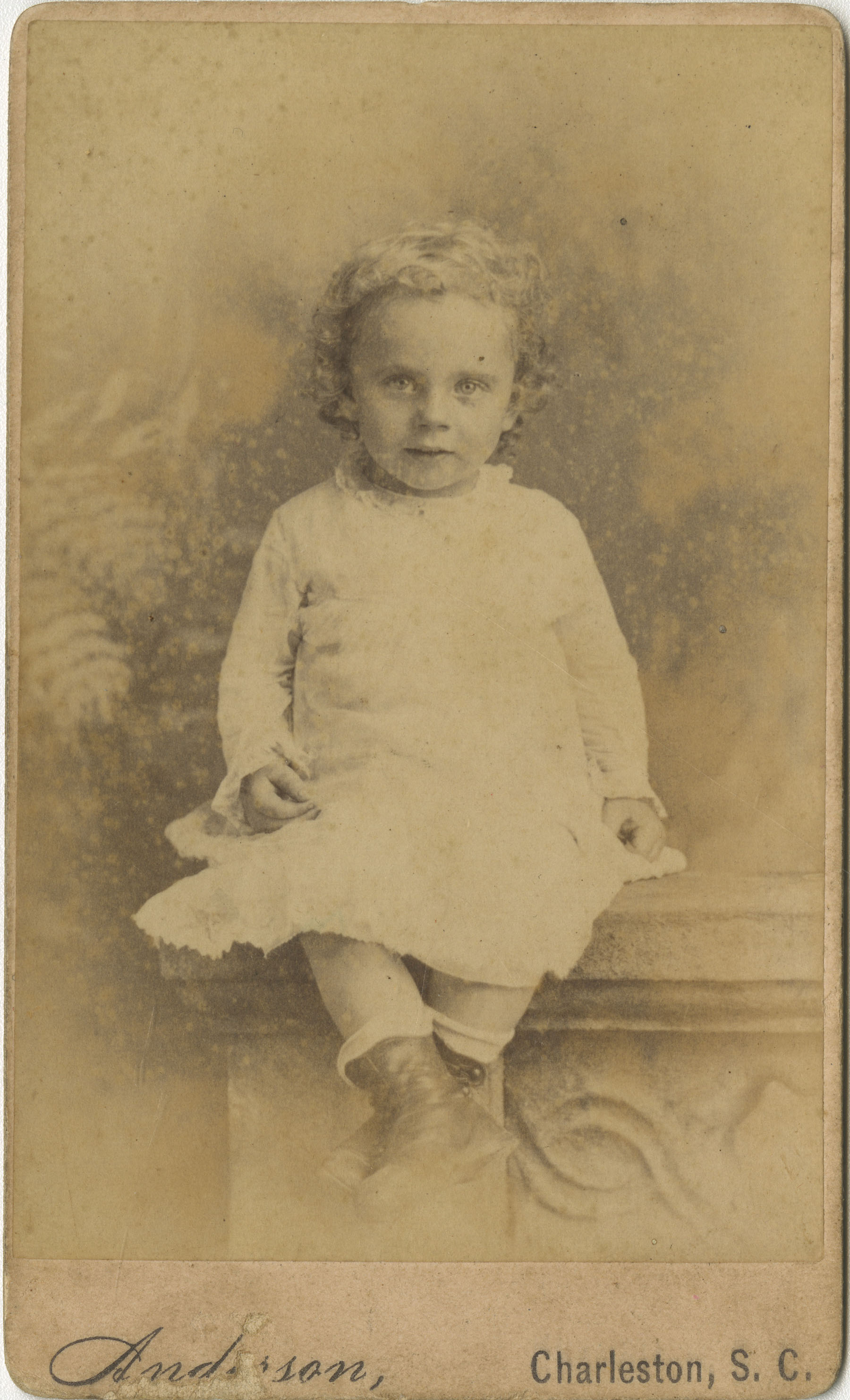 Portrait of Toddler Seated on Wall