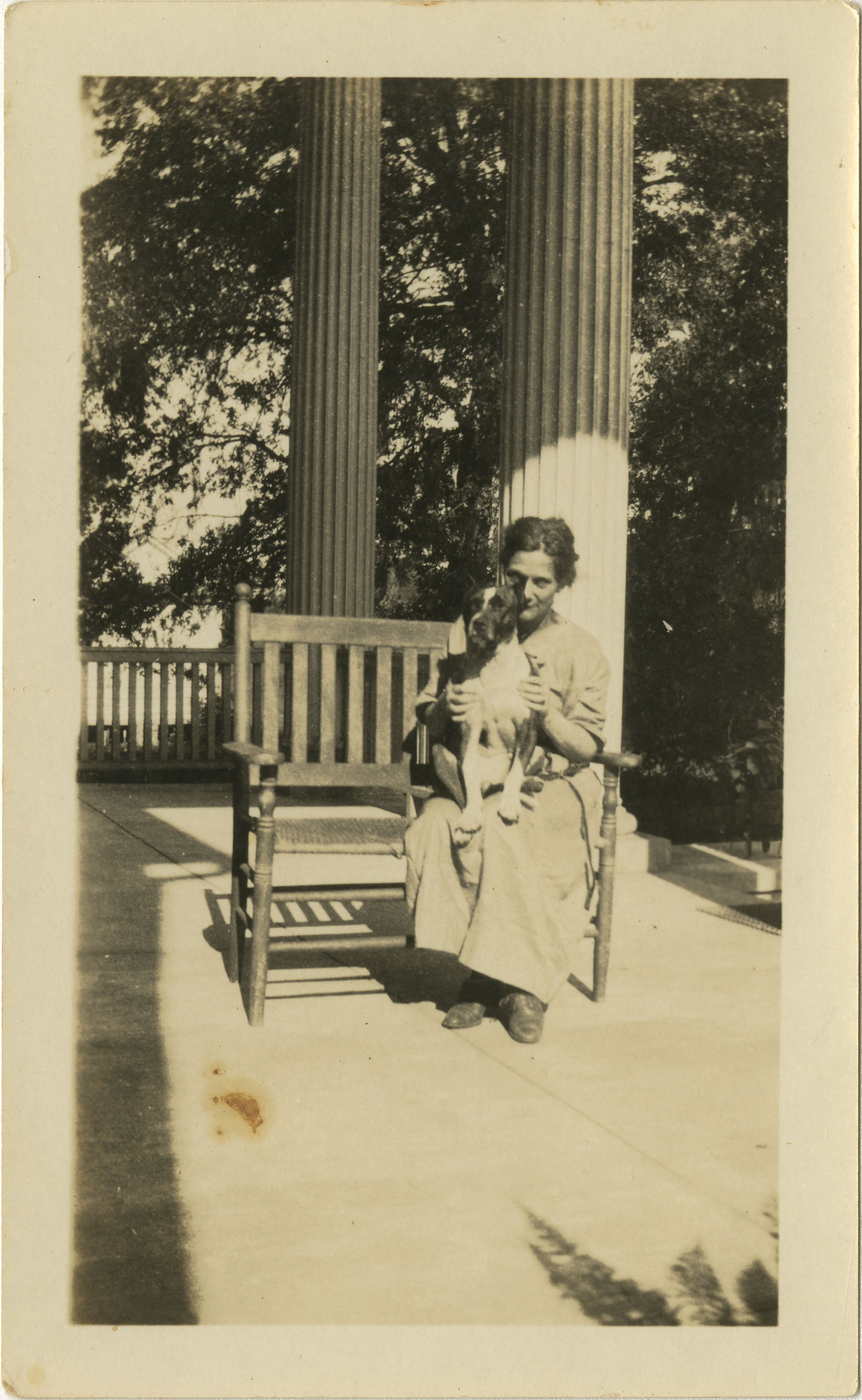 Woman and Dog on Bench