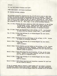 Memorandum from Mark Cassel to Day Care Center Directors and Staff, February 15, 1978