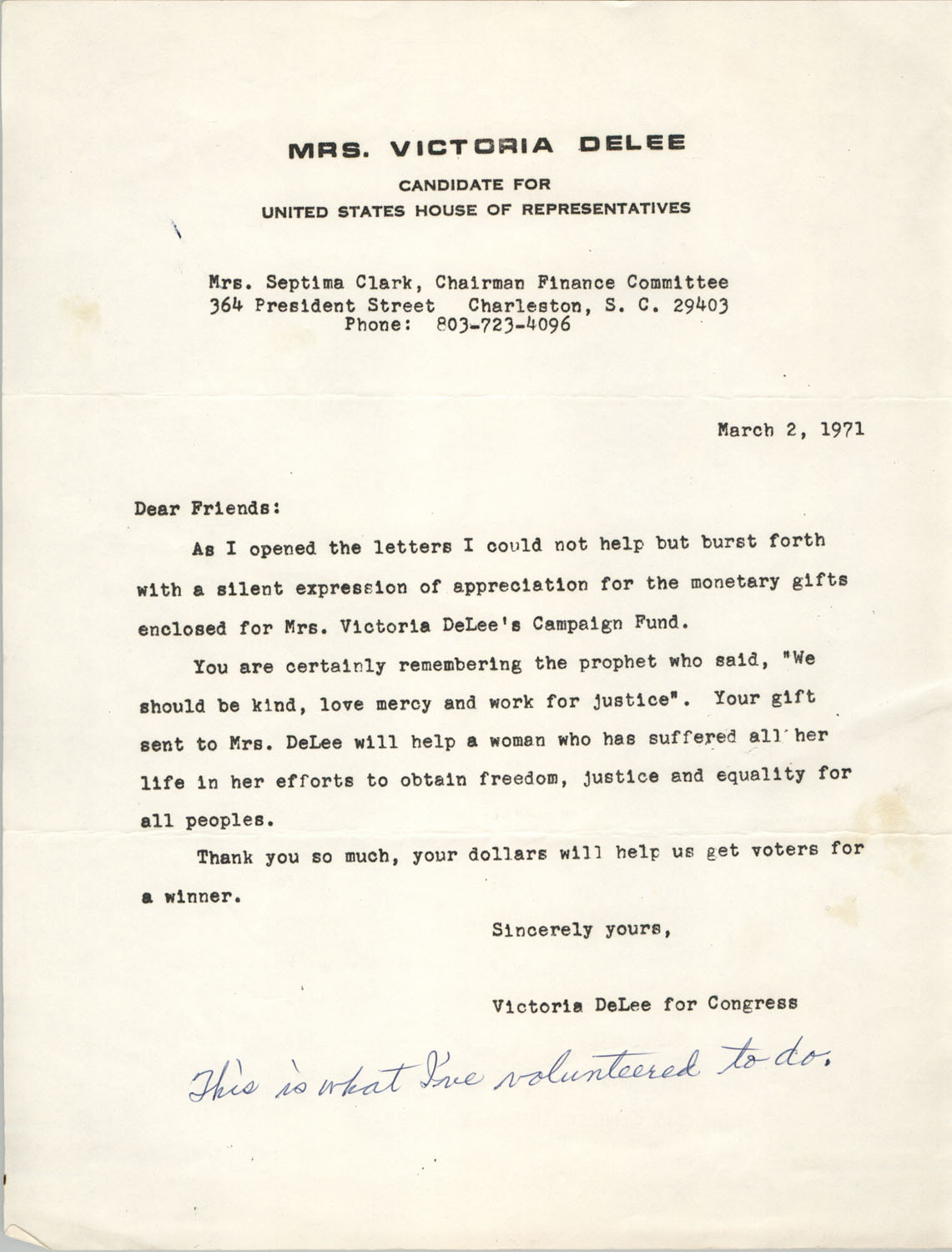 Letter from Victoria DeLee to Septima P. Clark, March 2, 1971