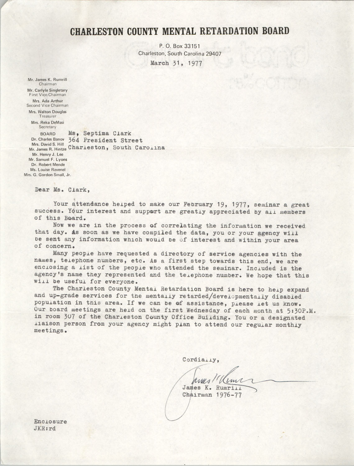 Letter from James K. Rumrill to Septima P. Clark; Charleston County Mental Retardation Board Directory, March 31, 1977