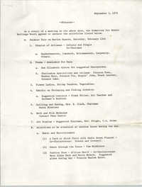 Minutes, Committee for Ethnic Heritage Month, September 3, 1974