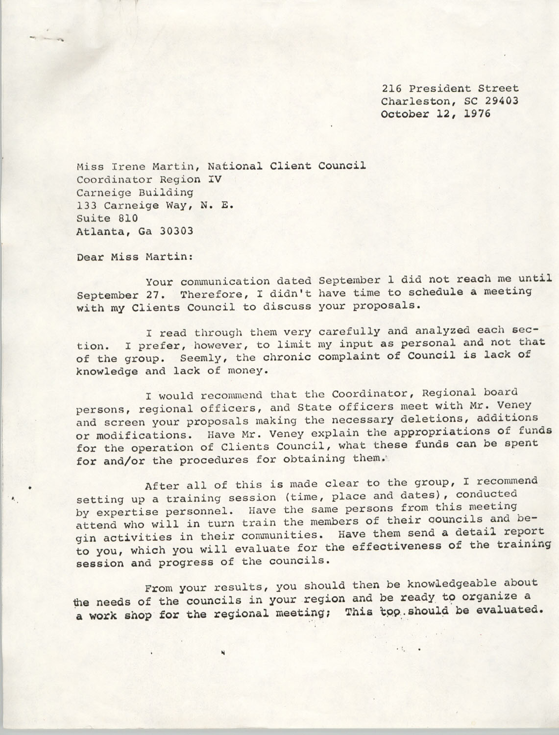 Letter from Stella D. Mosley to Irene Martin, October 12, 1976