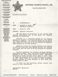 Memorandum from Bernard A. Veney to Board of Directors, National Clients Council, March 16, 1978
