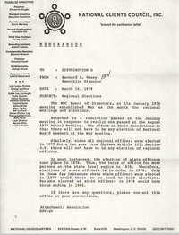 Memorandum from Bernard A. Veney to Board of Directors, National Clients Council, March 16, 1978