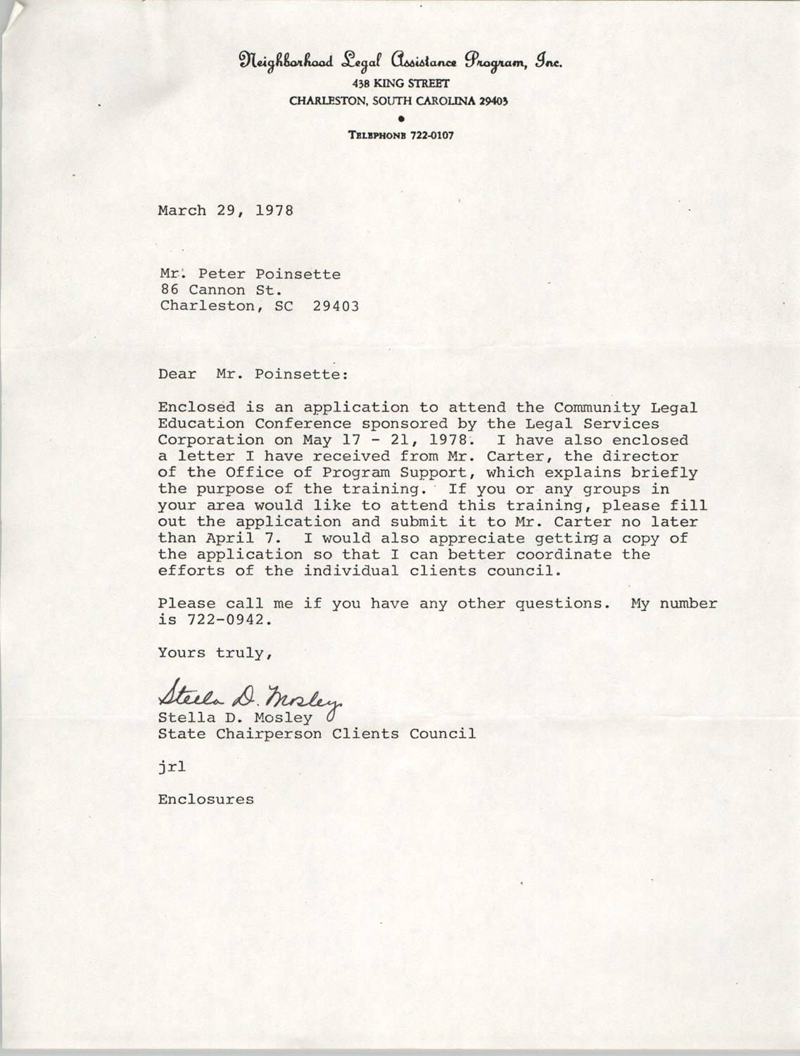 Letter from Stella D. Mosley to Peter Poinsettee, March 29, 1978