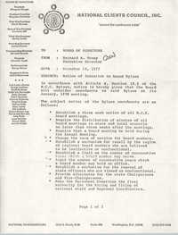 Memorandum from Bernard A. Veney to Board of Directors, National Clients Council, December 14, 1977