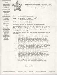 Memorandum from Bernard A. Veney to Board of Directors, National Clients Council, December 14, 1977