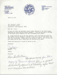 Letter from T. Dewey Wise to Septima P. Clark, March 16, 1976