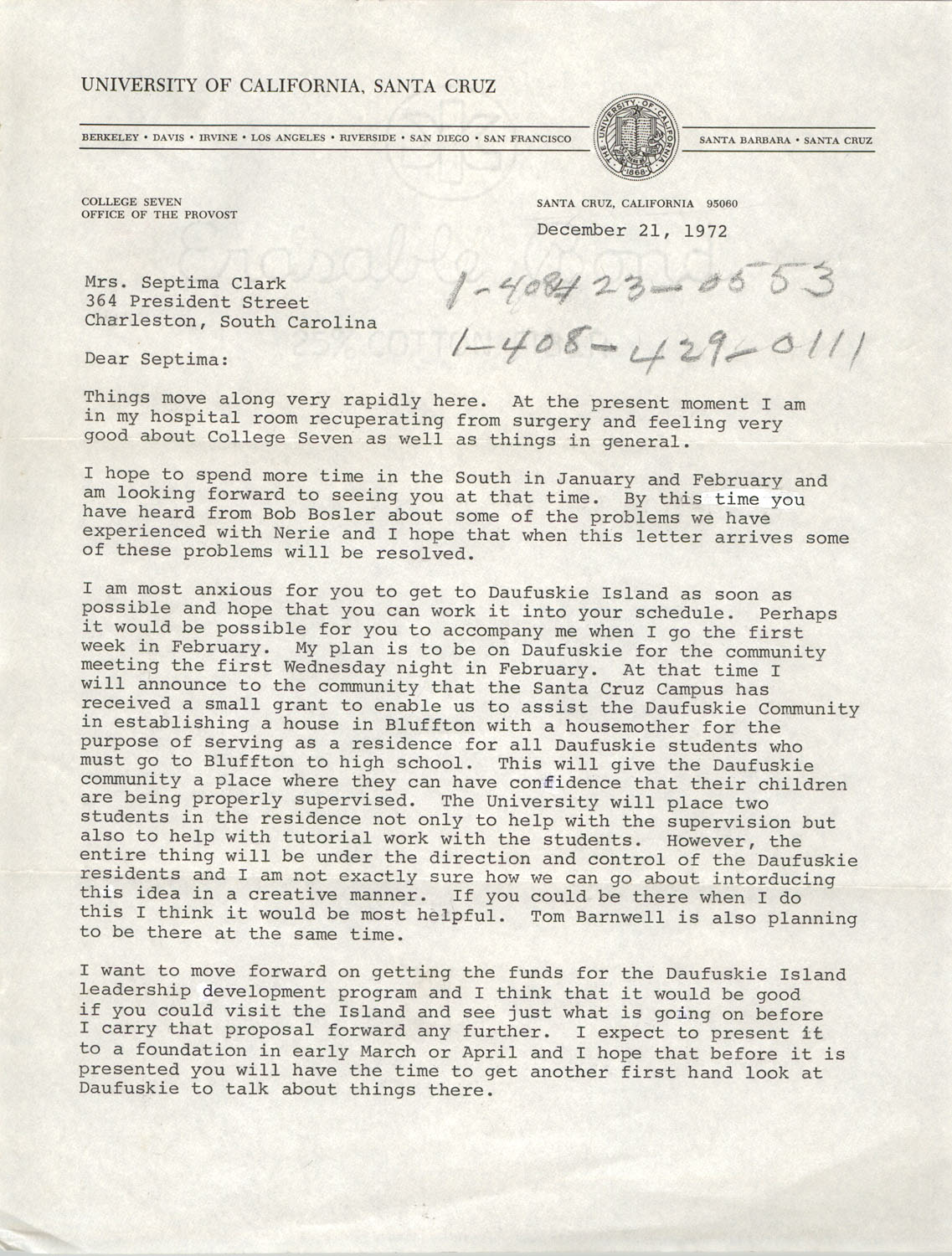 Letter from J. Herman Blake to Septima P. Clark, December 21, 1972