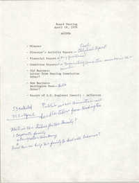 Agenda, Board Meeting, March 21, 1978
