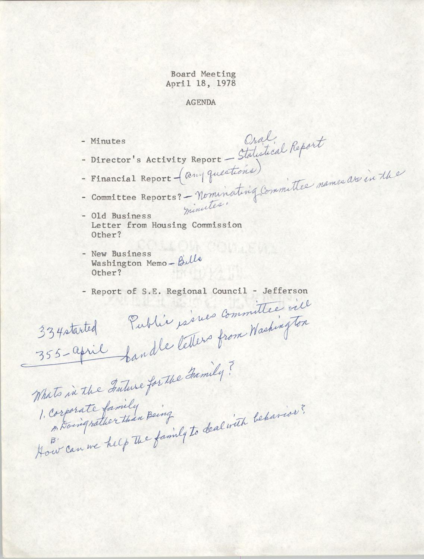 Agenda, Board Meeting, March 21, 1978