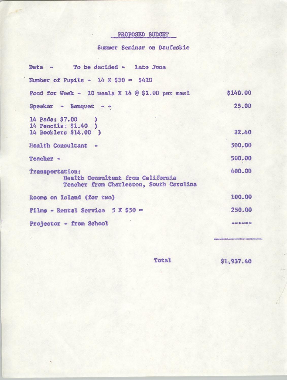 Proposed Budget, Summer Seminar on Daufuskie