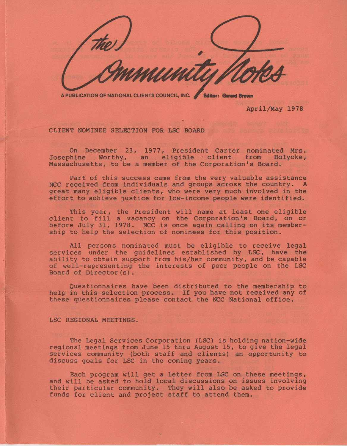 Community Notes, National Clients Council, April/May 1978