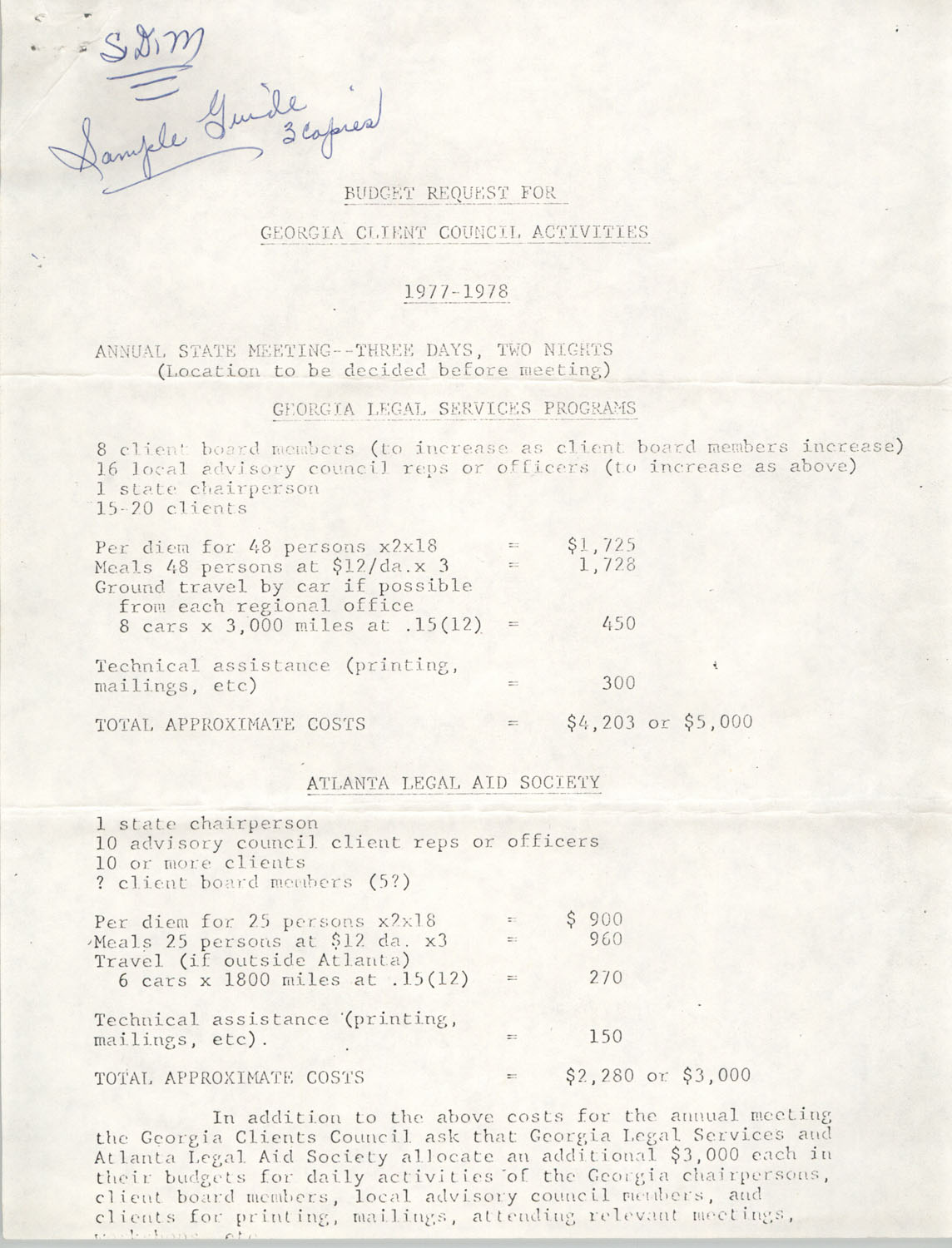 Budget Request for Georgia Client Council Activities, 1977-1978