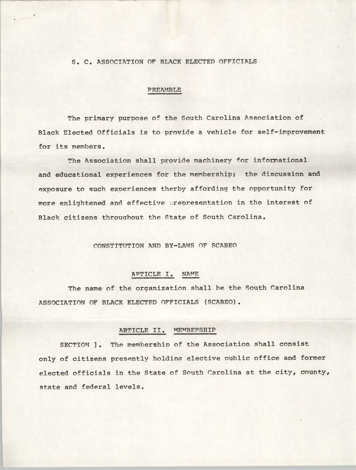 Constitution and By-Laws of S.C. Association of Black Elected Officials