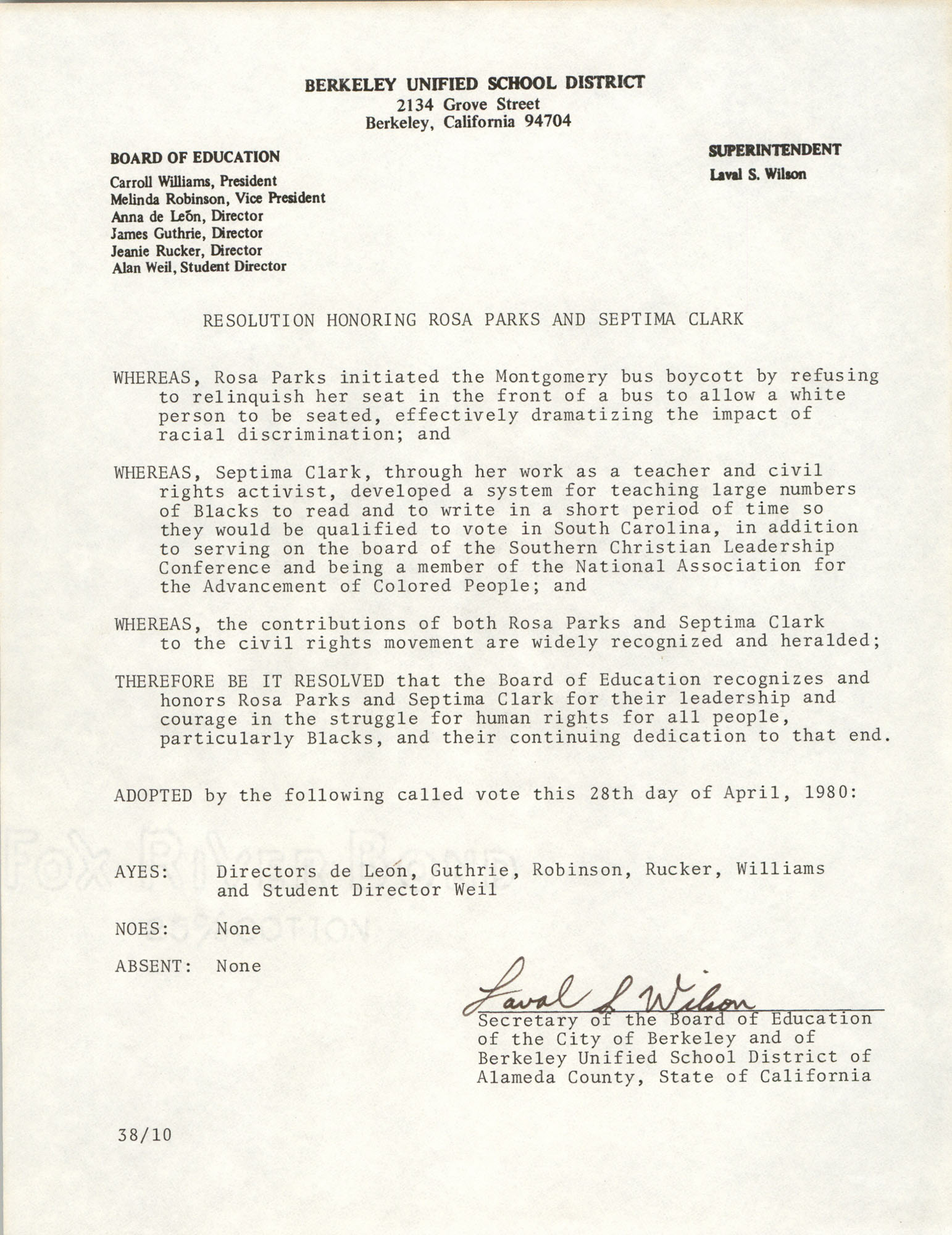 Resolution Honoring Rosa Parks and Septima Clark, April 1980